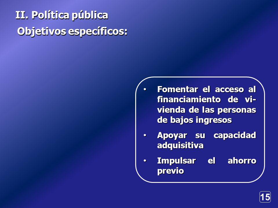 15 Objetivos específicos: II.