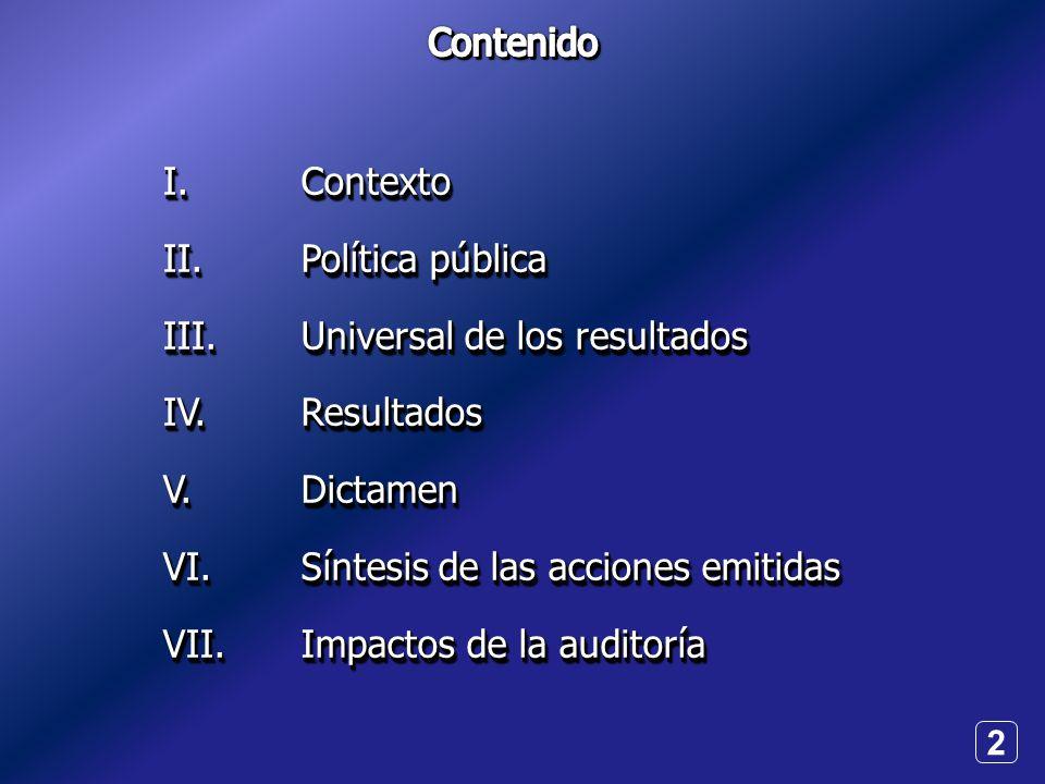 2 I.II.III.IV.V.VI.VII.I.II.III.IV.V.VI.VII.Contexto Política pública Universal de los resultados ResultadosDictamen Síntesis de las acciones emitidas Impactos de la auditoría Contexto Política pública Universal de los resultados ResultadosDictamen Síntesis de las acciones emitidas Impactos de la auditoría