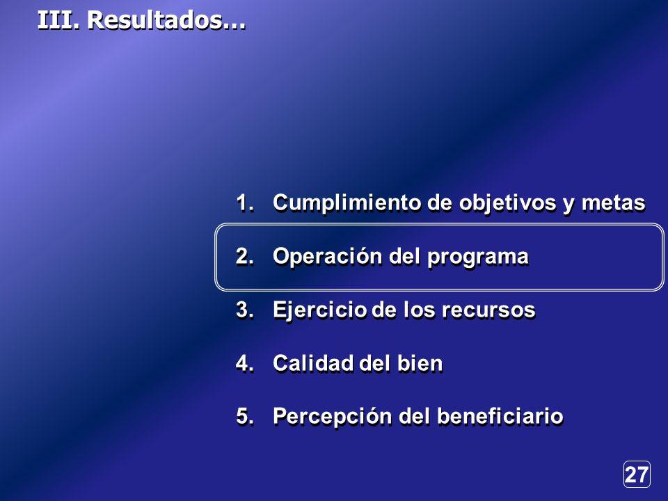 27 1. Cumplimiento de objetivos y metas 2. Operación del programa 3.