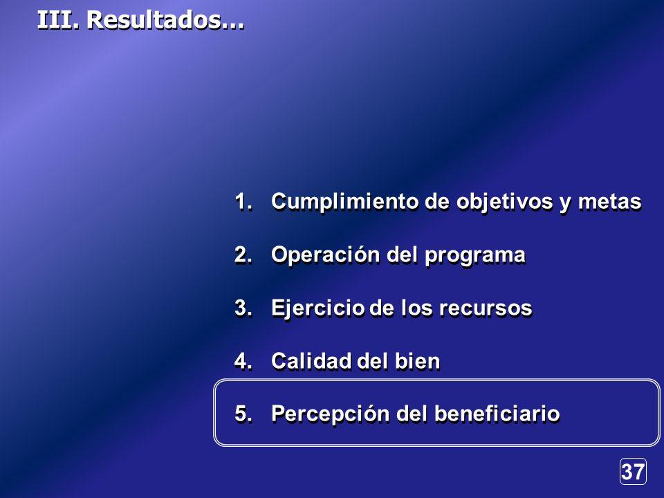 37 1. Cumplimiento de objetivos y metas 2. Operación del programa 3.