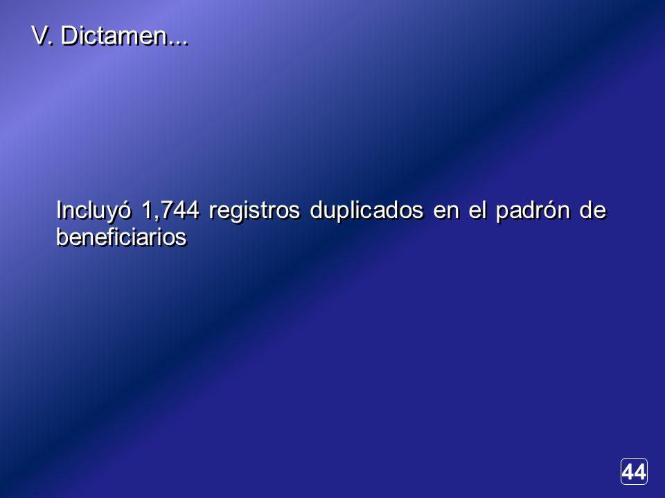 44 Incluyó 1,744 registros duplicados en el padrón de beneficiarios V. Dictamen...