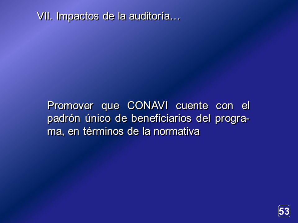 53 Promover que CONAVI cuente con el padrón único de beneficiarios del progra- ma, en términos de la normativa VII.