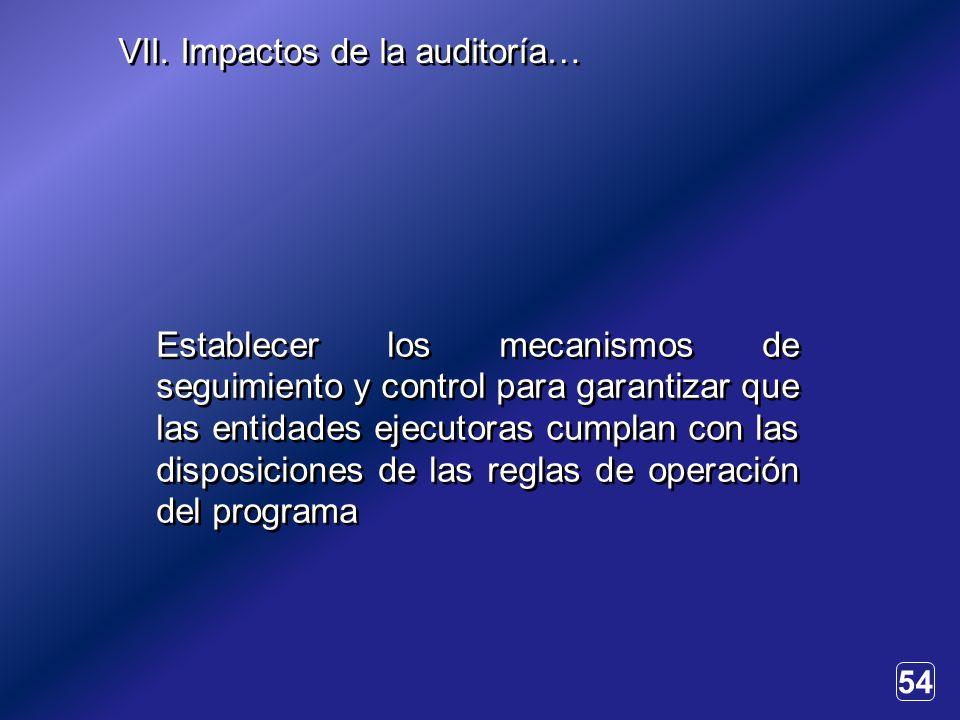 54 Establecer los mecanismos de seguimiento y control para garantizar que las entidades ejecutoras cumplan con las disposiciones de las reglas de operación del programa VII.