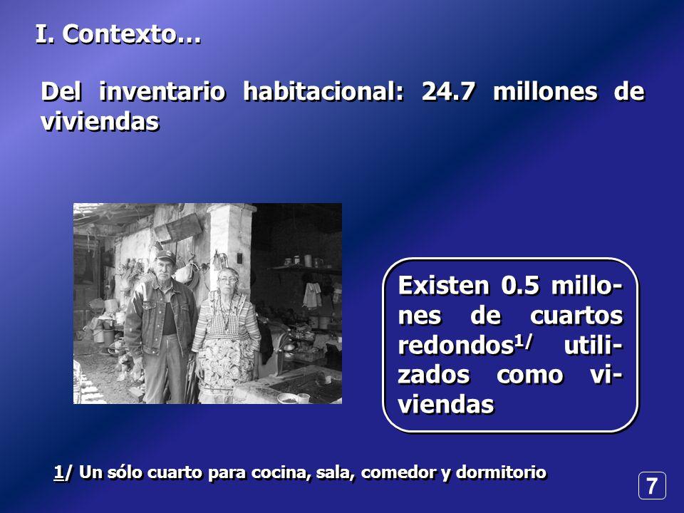 7 I. Contexto… 1/ Un sólo cuarto para cocina, sala, comedor y dormitorio Del inventario habitacional: 24.7 millones de viviendas Existen 0.5 millo- ne