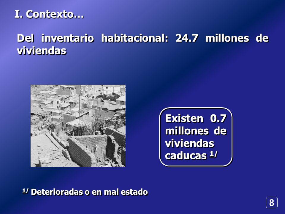 8 I. Contexto… 1/ Deterioradas o en mal estado Del inventario habitacional: 24.7 millones de viviendas Existen 0.7 millones de viviendas caducas 1/