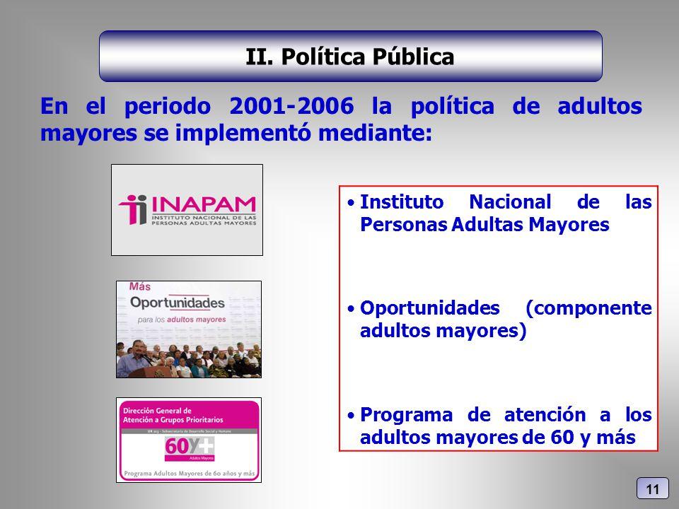 En el periodo 2001-2006 la política de adultos mayores se implementó mediante: II. Política Pública Instituto Nacional de las Personas Adultas Mayores