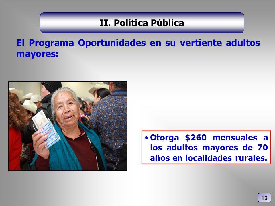 El Programa Oportunidades en su vertiente adultos mayores: II. Política Pública Otorga $260 mensuales a los adultos mayores de 70 años en localidades