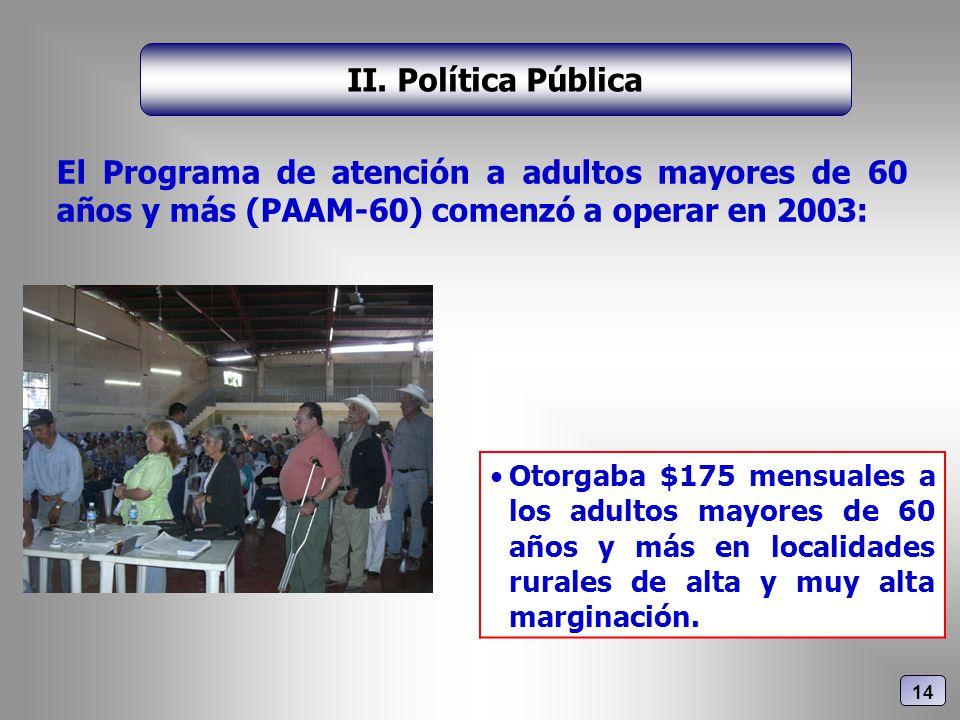 El Programa de atención a adultos mayores de 60 años y más (PAAM-60) comenzó a operar en 2003: II. Política Pública Otorgaba $175 mensuales a los adul