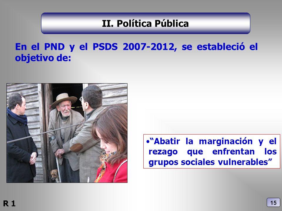 II. Política Pública Abatir la marginación y el rezago que enfrentan los grupos sociales vulnerables En el PND y el PSDS 2007-2012, se estableció el o