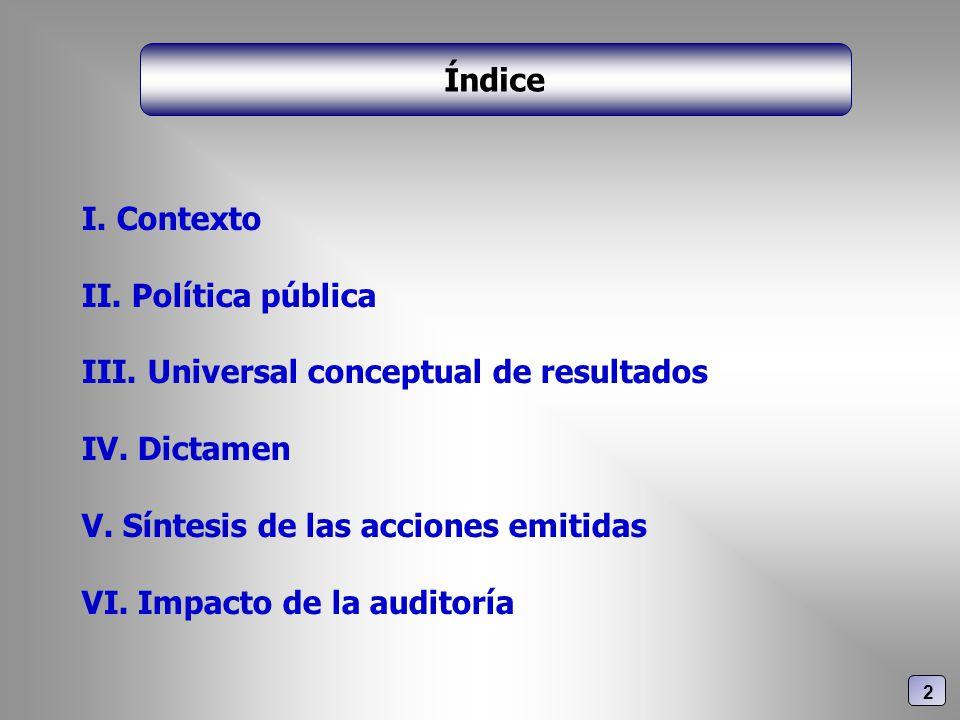I. Contexto II. Política pública III. Universal conceptual de resultados IV. Dictamen V. Síntesis de las acciones emitidas VI. Impacto de la auditoría
