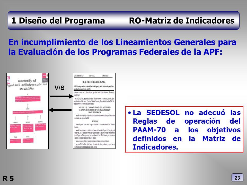 1 Diseño del Programa RO-Matriz de Indicadores En incumplimiento de los Lineamientos Generales para la Evaluación de los Programas Federales de la APF