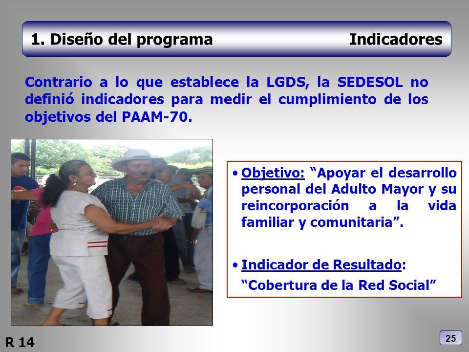 1. Diseño del programa Indicadores Contrario a lo que establece la LGDS, la SEDESOL no definió indicadores para medir el cumplimiento de los objetivos