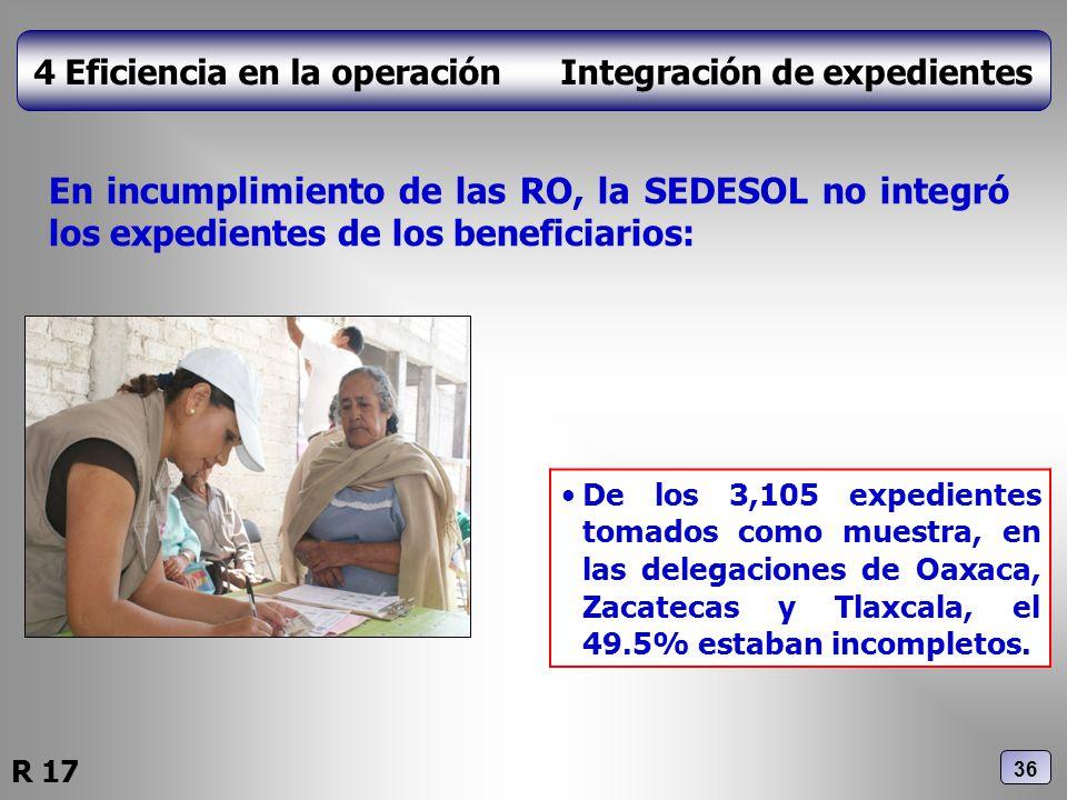 4 Eficiencia en la operación Integración de expedientes En incumplimiento de las RO, la SEDESOL no integró los expedientes de los beneficiarios: De lo