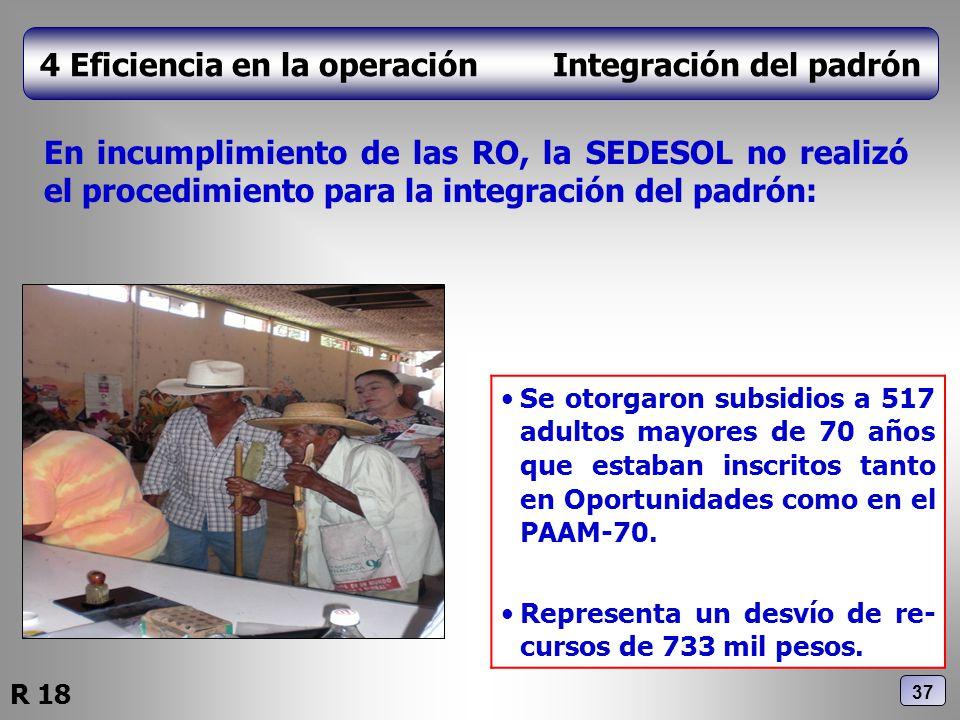 4 Eficiencia en la operación Integración del padrón En incumplimiento de las RO, la SEDESOL no realizó el procedimiento para la integración del padrón