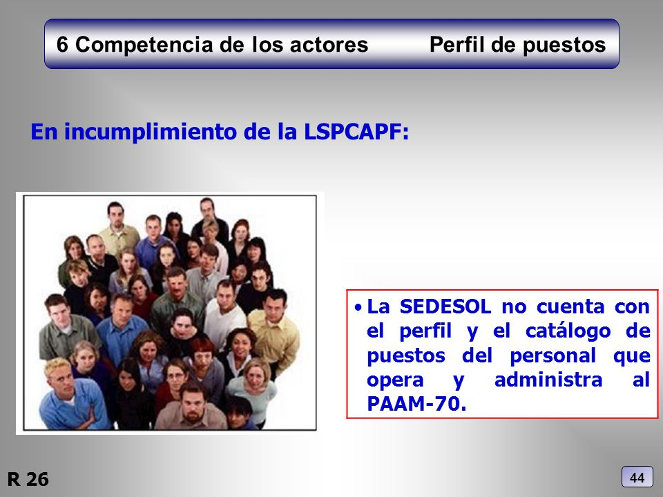6 Competencia de los actores Perfil de puestos En incumplimiento de la LSPCAPF: La SEDESOL no cuenta con el perfil y el catálogo de puestos del person