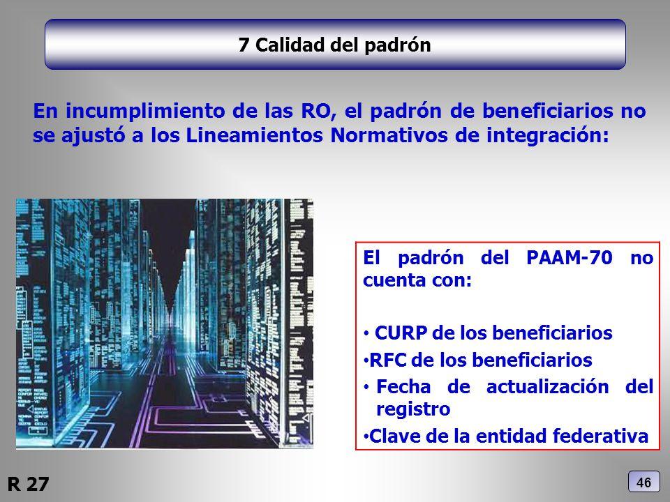 7 Calidad del padrón En incumplimiento de las RO, el padrón de beneficiarios no se ajustó a los Lineamientos Normativos de integración: El padrón del