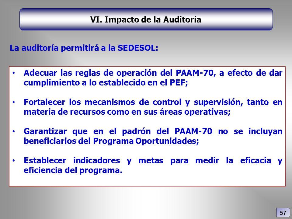 VI. Impacto de la Auditoría Adecuar las reglas de operación del PAAM-70, a efecto de dar cumplimiento a lo establecido en el PEF; Fortalecer los mecan