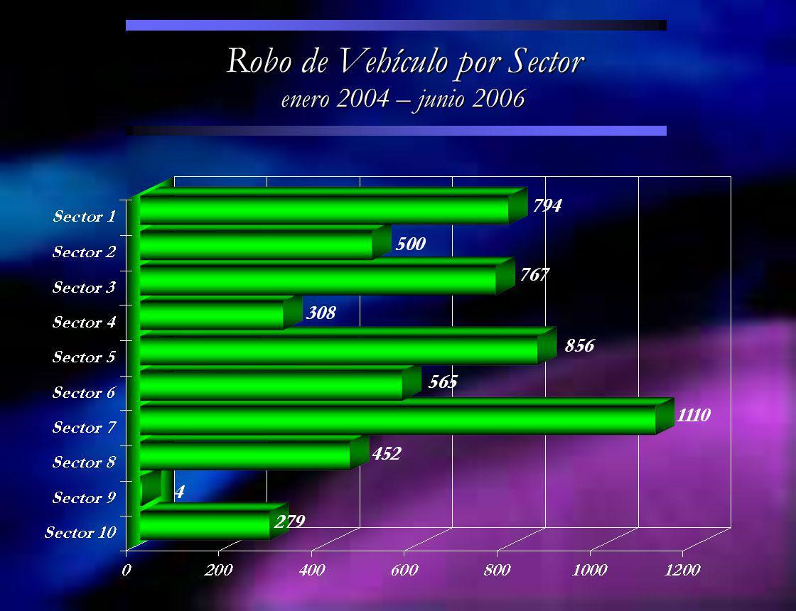 Robo de Vehículo por Sector enero 2004 – junio 2006