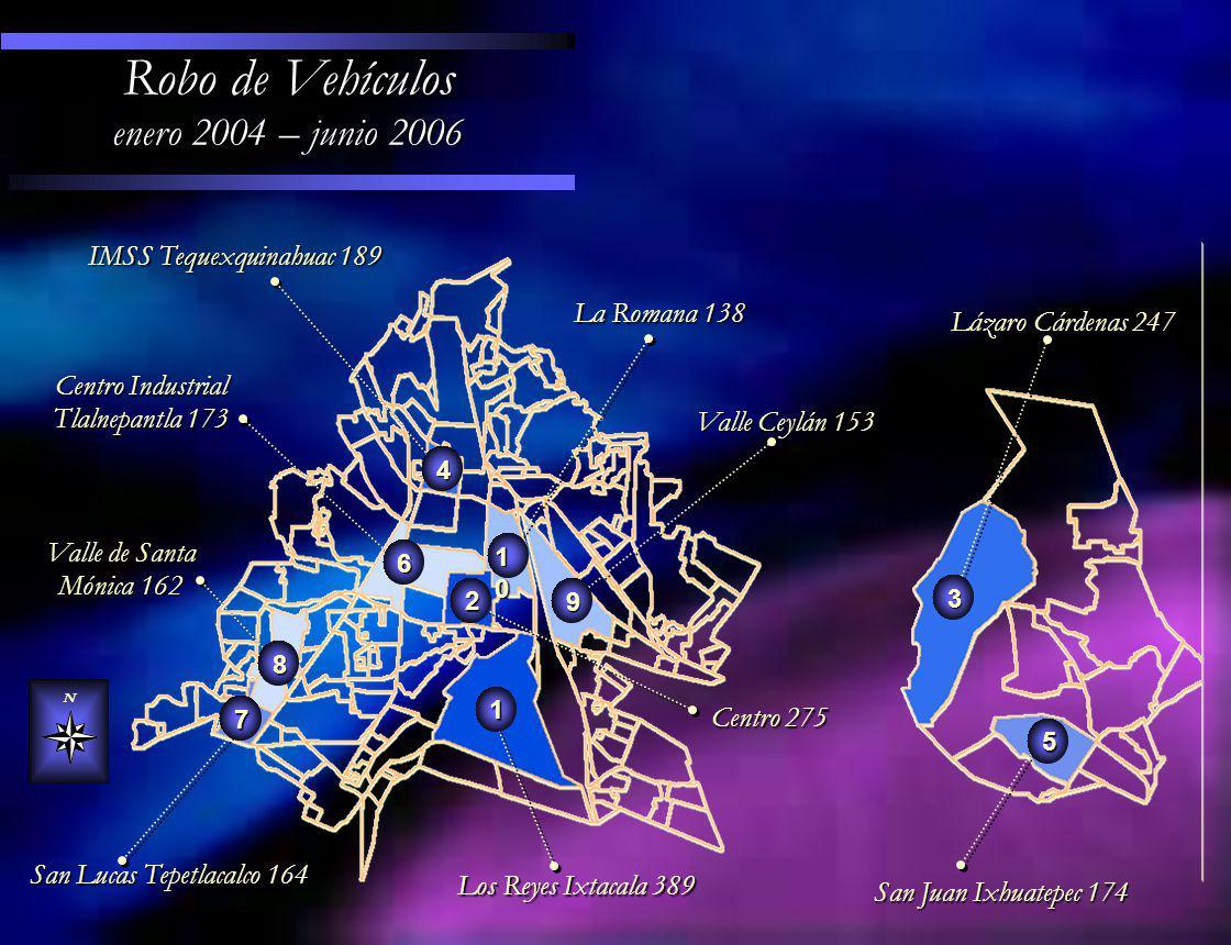Promedio Diario por mes de Robo de Vehículo septiembre 2003 – junio 2006 200320042005 2006