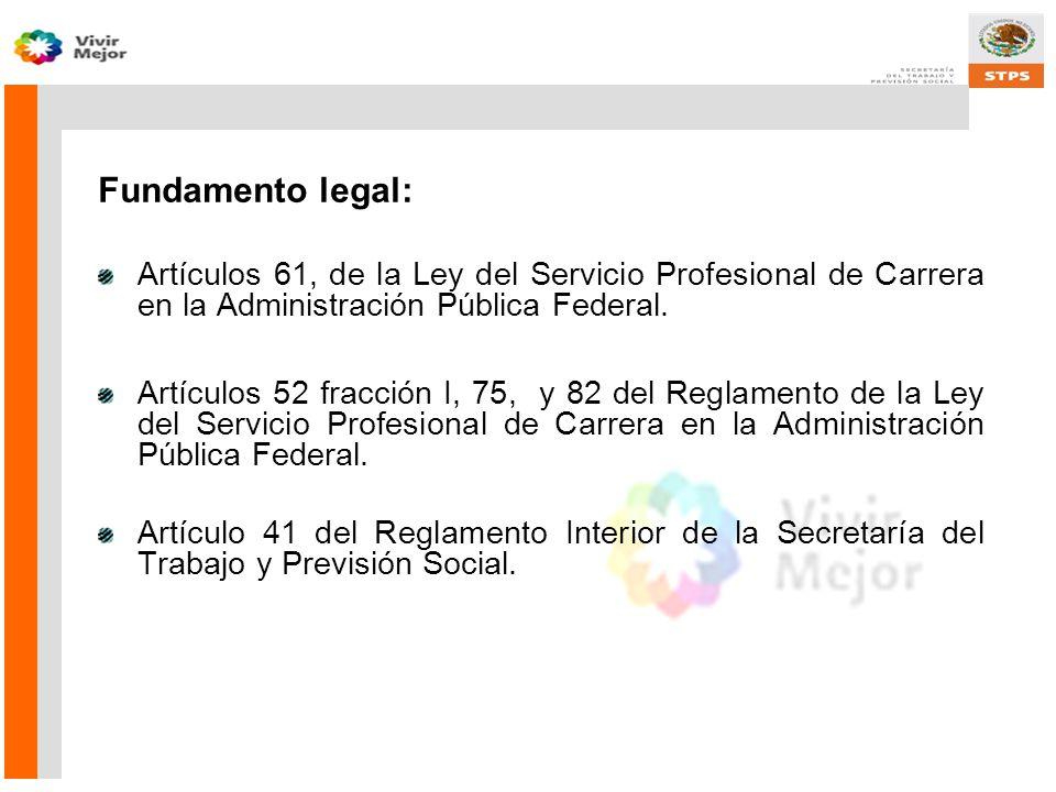 Fundamento legal: Artículos 61, de la Ley del Servicio Profesional de Carrera en la Administración Pública Federal.
