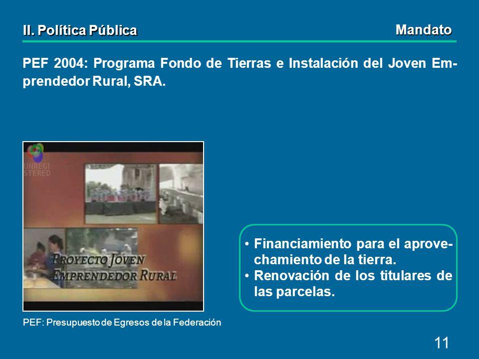 11 PEF 2004: Programa Fondo de Tierras e Instalación del Joven Em- prendedor Rural, SRA.