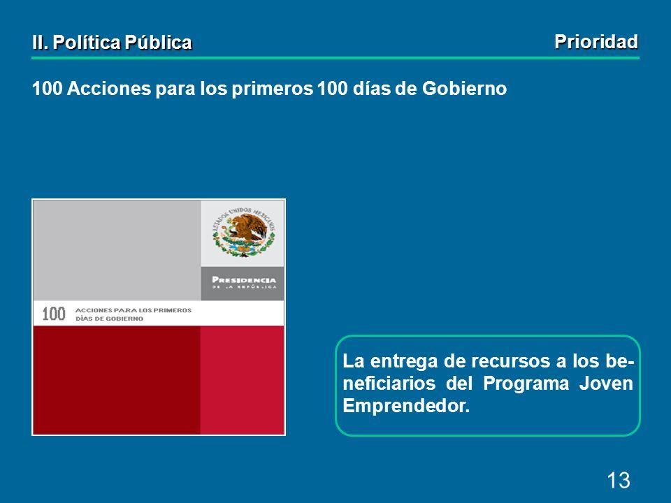 13 100 Acciones para los primeros 100 días de Gobierno La entrega de recursos a los be- neficiarios del Programa Joven Emprendedor.
