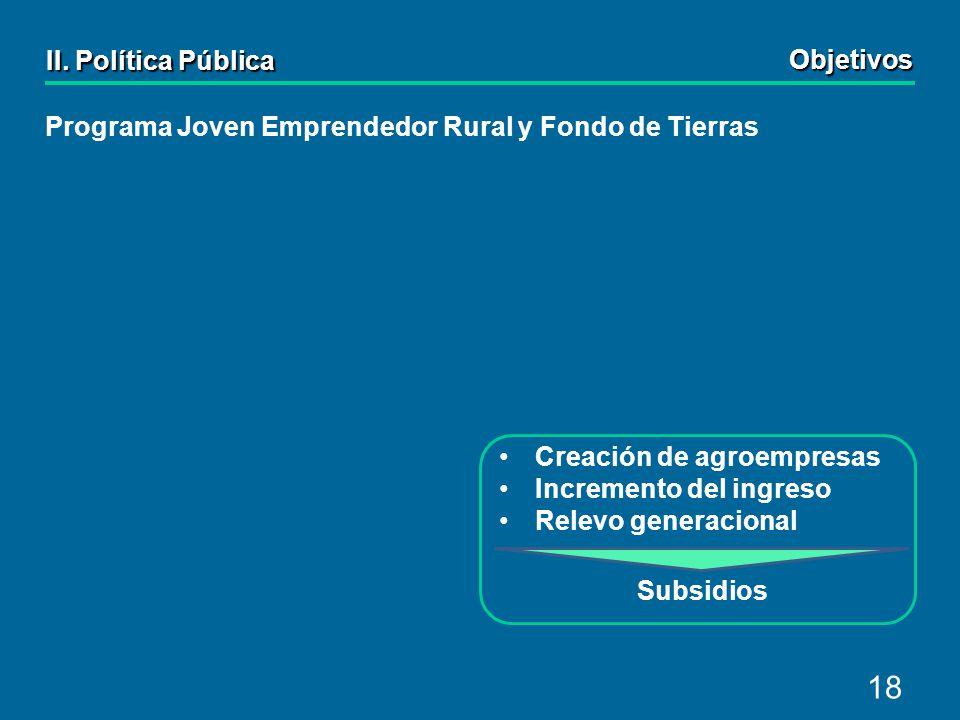 18 Creación de agroempresas Incremento del ingreso Relevo generacional Subsidios Programa Joven Emprendedor Rural y Fondo de Tierras II.
