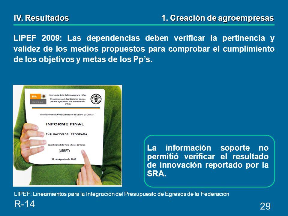 29 La información soporte no permitió verificar el resultado de innovación reportado por la SRA.