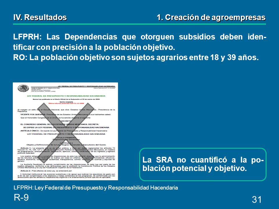 31 La SRA no cuantificó a la po- blación potencial y objetivo.