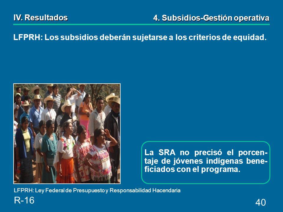 40 La SRA no precisó el porcen- taje de jóvenes indígenas bene- ficiados con el programa.