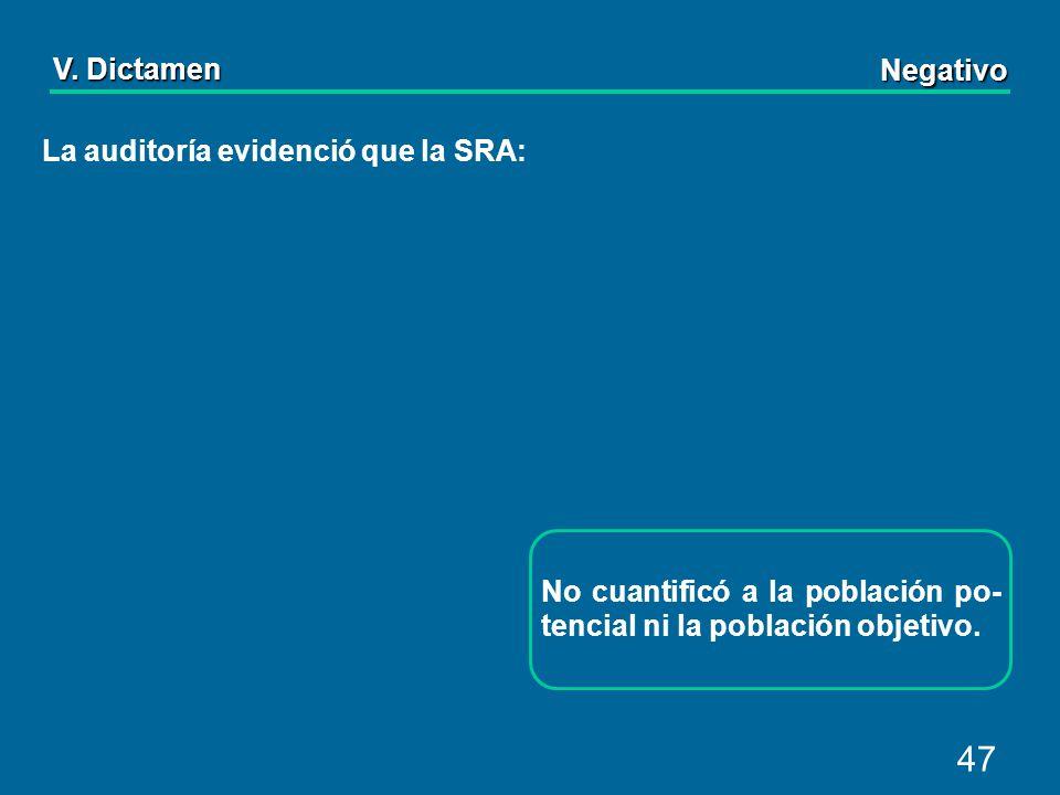 47 La auditoría evidenció que la SRA: No cuantificó a la población po- tencial ni la población objetivo.