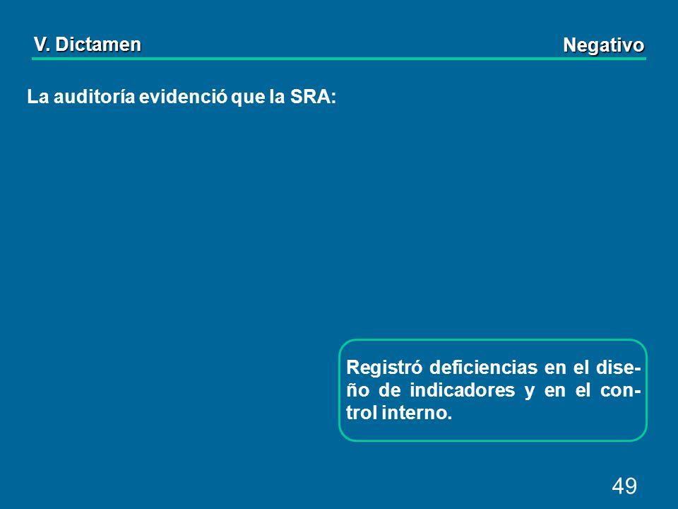 49 La auditoría evidenció que la SRA: Registró deficiencias en el dise- ño de indicadores y en el con- trol interno.