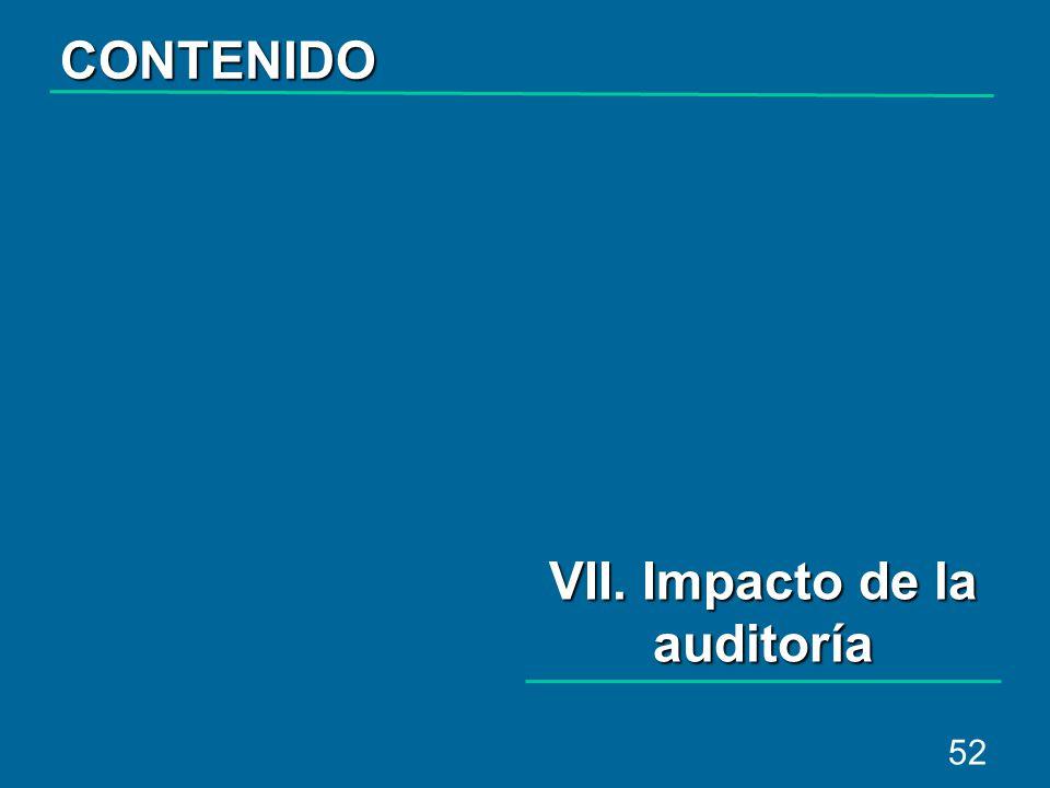 52 VII. Impacto de la auditoría CONTENIDO
