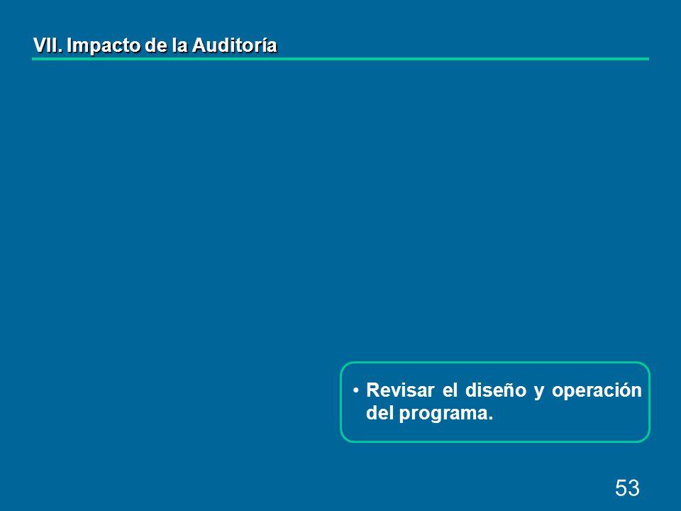53 Revisar el diseño y operación del programa. VII. Impacto de la Auditoría