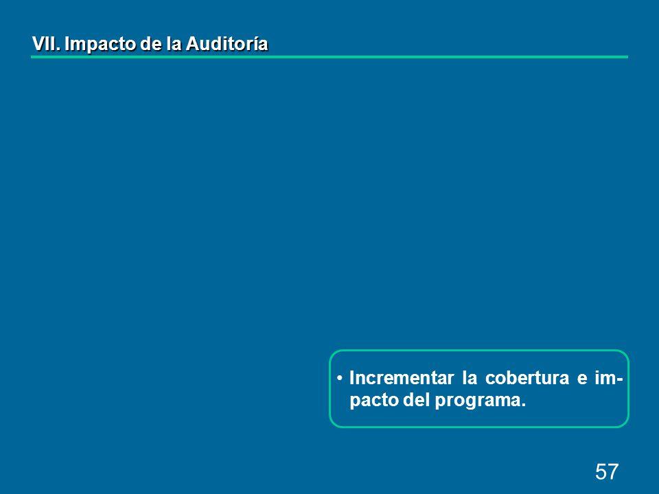 57 Incrementar la cobertura e im- pacto del programa. VII. Impacto de la Auditoría