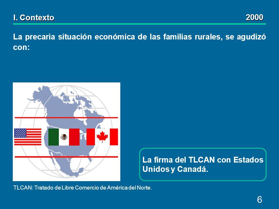 6 La precaria situación económica de las familias rurales, se agudizó con: I.