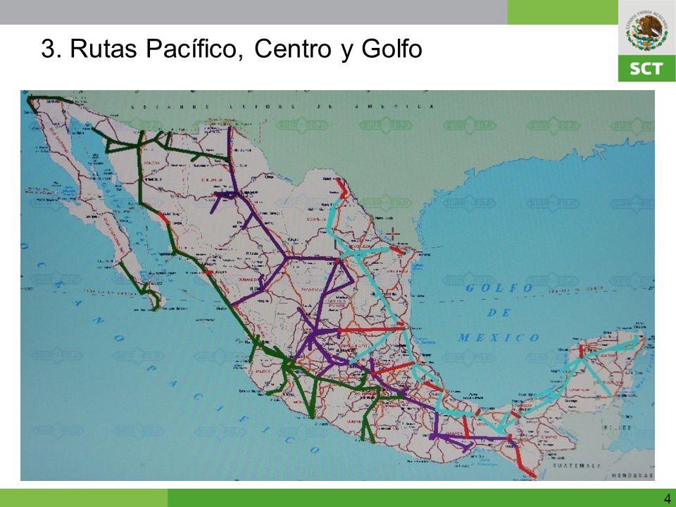 Para propósito de la licitación se dividió la disponibilidad de hilos y segmentos complementarios en tres rutas: 1.Ruta Pacífico (8,120 Km) más segmentos complementarios, que se extiende con diversos ramales, por el poniente del país.Va de Baja California a Oaxaca, e incluye dos tramos no conectados al resto del país en Baja California y Baja California Sur.