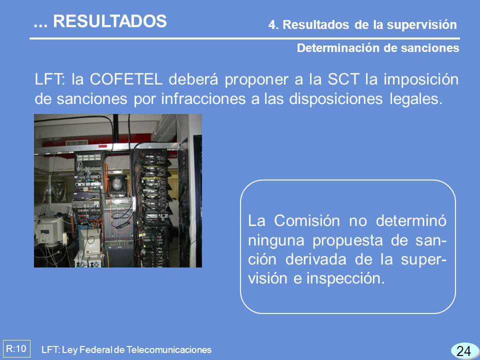 R:10 LFT: la COFETEL deberá proponer a la SCT la imposición de sanciones por infracciones a las disposiciones legales. Determinación de sanciones 4. R