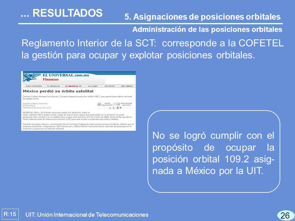 Reglamento Interior de la SCT: corresponde a la COFETEL la gestión para ocupar y explotar posiciones orbitales. 5. Asignaciones de posiciones orbitale