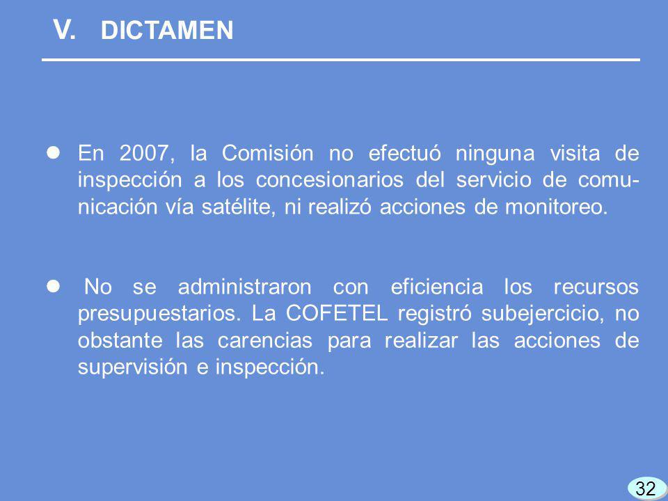 V. DICTAMEN En 2007, la Comisión no efectuó ninguna visita de inspección a los concesionarios del servicio de comu- nicación vía satélite, ni realizó