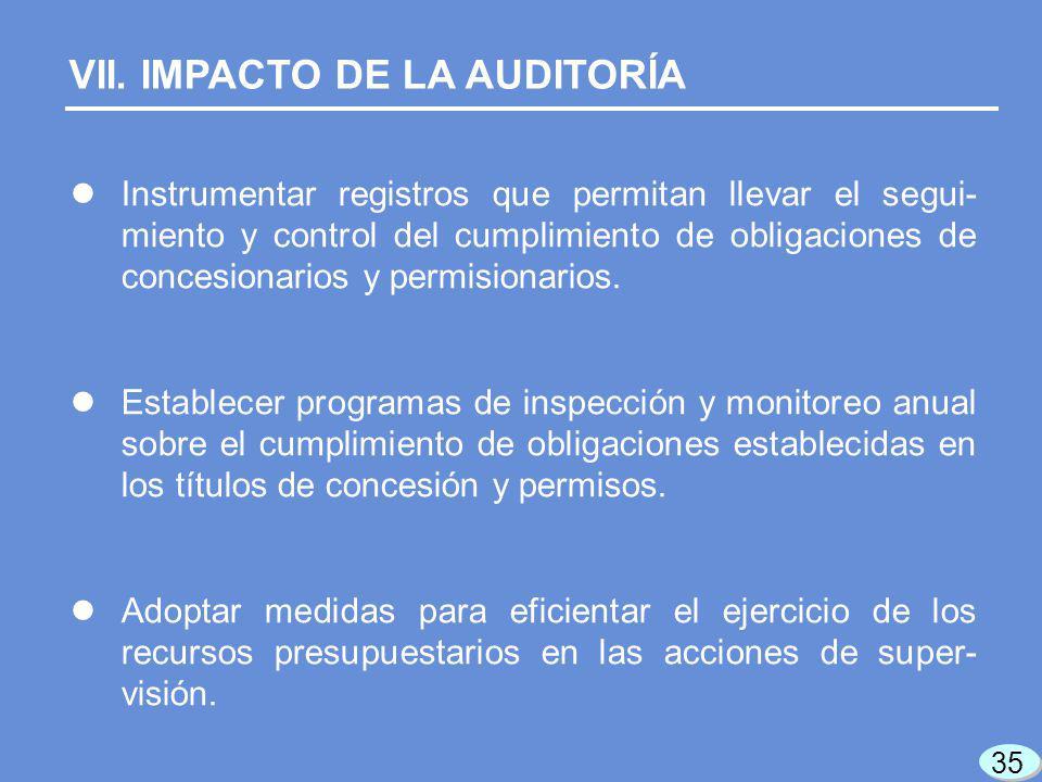 VII. IMPACTO DE LA AUDITORÍA Instrumentar registros que permitan llevar el segui- miento y control del cumplimiento de obligaciones de concesionarios