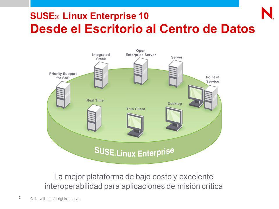 © Novell Inc. All rights reserved 2 SUSE ® Linux Enterprise 10 Desde el Escritorio al Centro de Datos La mejor plataforma de bajo costo y excelente in