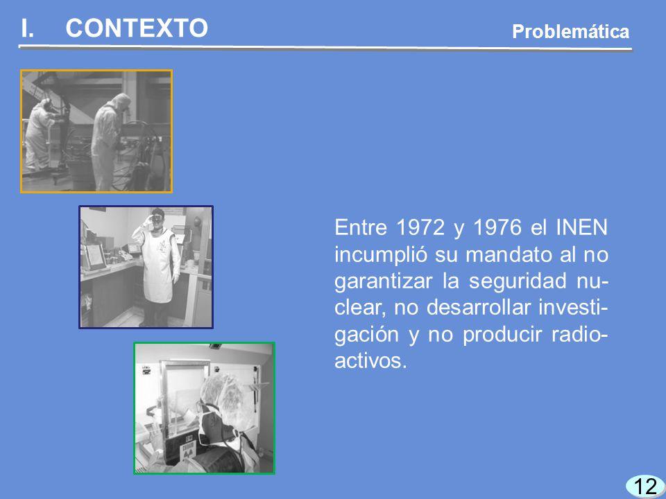 12 I.CONTEXTO Problemática Entre 1972 y 1976 el INEN incumplió su mandato al no garantizar la seguridad nu- clear, no desarrollar investi- gación y no producir radio- activos.