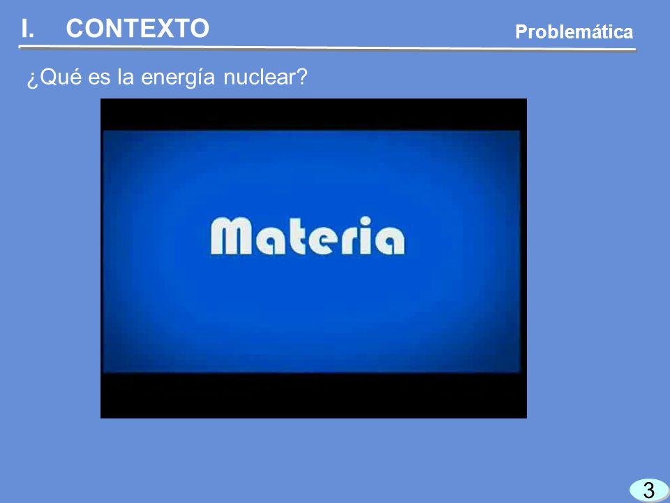 3 3 I.CONTEXTO ¿Qué es la energía nuclear Problemática