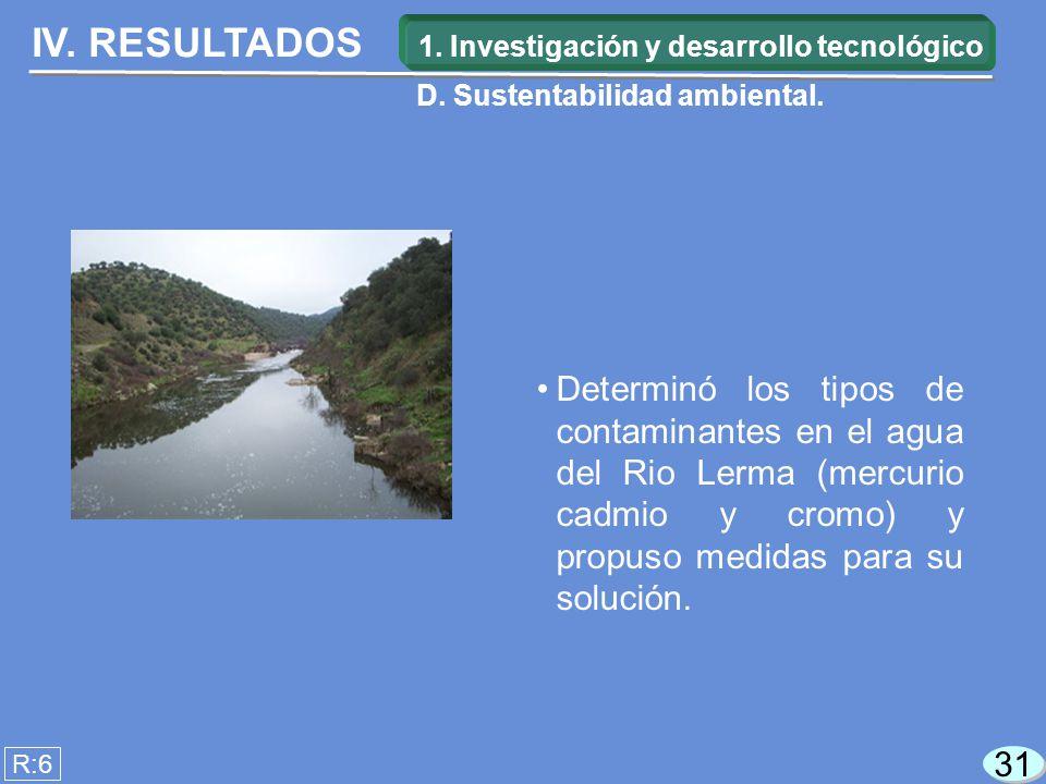 IV. RESULTADOS Determinó los tipos de contaminantes en el agua del Rio Lerma (mercurio cadmio y cromo) y propuso medidas para su solución. R:6 31 1. I