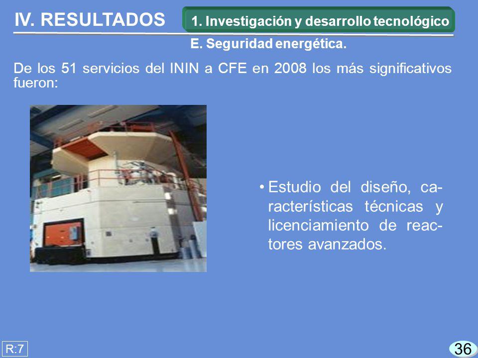 IV. RESULTADOS R:7 Estudio del diseño, ca- racterísticas técnicas y licenciamiento de reac- tores avanzados. 36 De los 51 servicios del ININ a CFE en