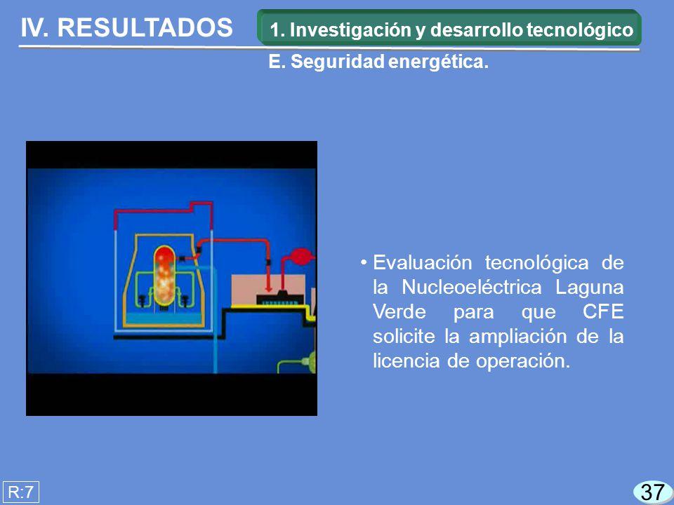 IV. RESULTADOS R:7 Evaluación tecnológica de la Nucleoeléctrica Laguna Verde para que CFE solicite la ampliación de la licencia de operación. 37 1. In