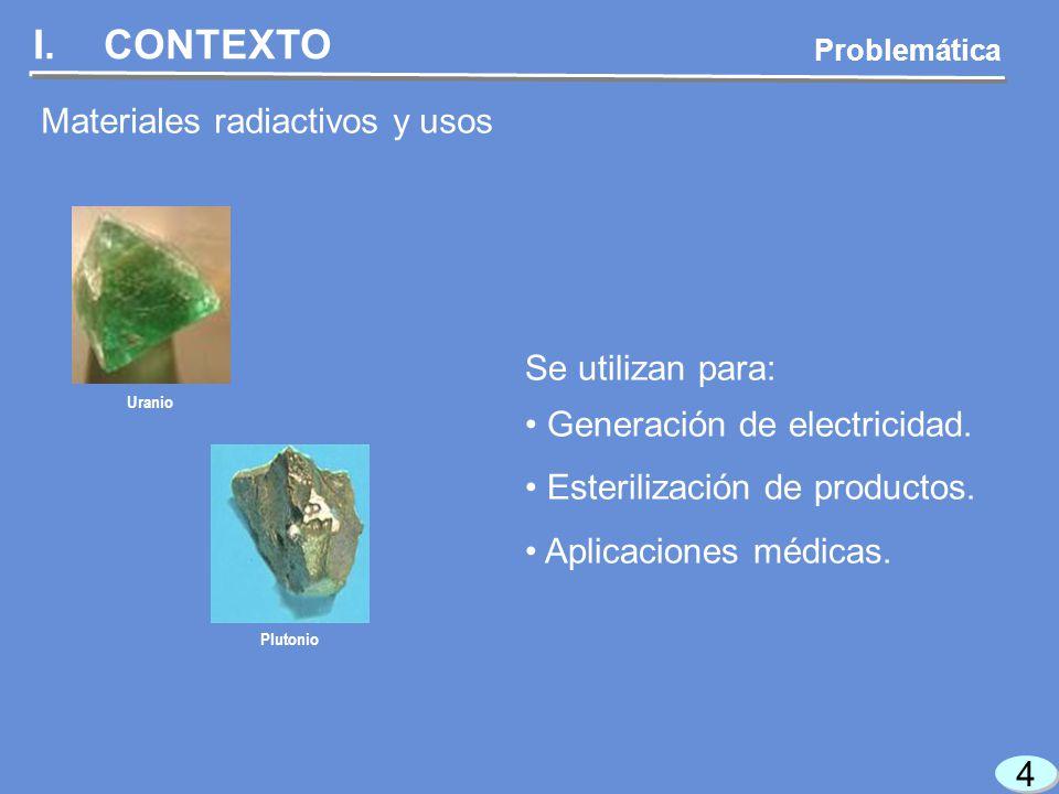 4 4 I.CONTEXTO Problemática Materiales radiactivos y usos Se utilizan para: Generación de electricidad.