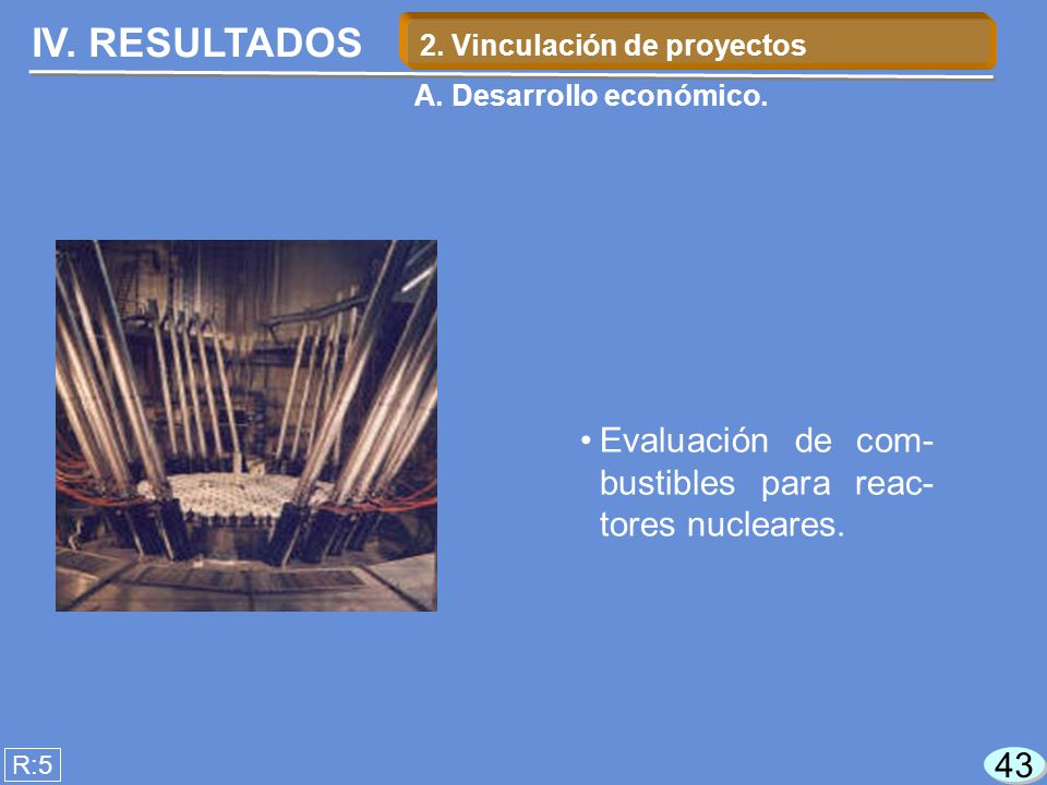 IV. RESULTADOS Evaluación de com- bustibles para reac- tores nucleares.