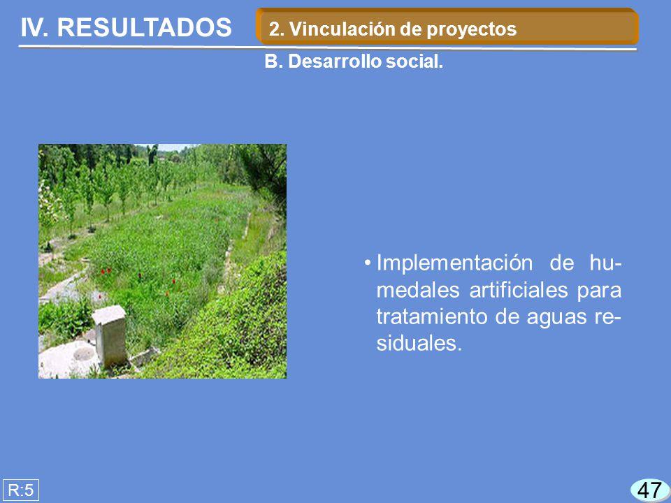 IV. RESULTADOS Implementación de hu- medales artificiales para tratamiento de aguas re- siduales. R:5 47 2. Vinculación de proyectos B. Desarrollo soc